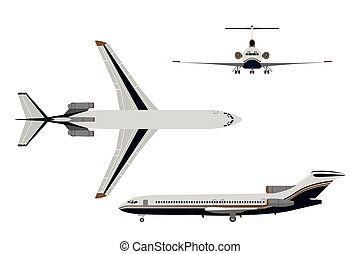 Drawing plane in a flat style on a white background. Top, front, side view