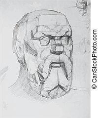 drawing plaster head