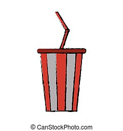 drawing plastic cup soda with straw drink american football