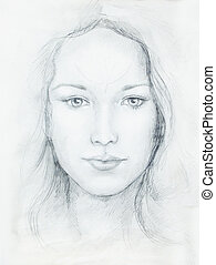 Drawing portrait Young woman with ornament on face, black...