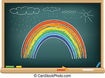 Drawing rainbow by a chalk