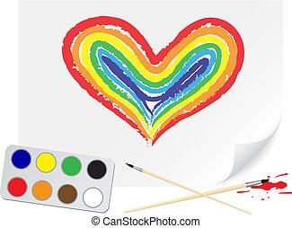 Drawing rainbow heart