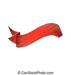 drawing red bookmarks ribbon image