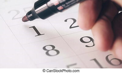 Drawing red circled mark on the first 1 day of a month in...