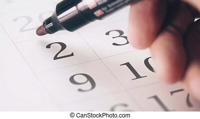 Drawing red circled mark on the second 2 day of a month in...