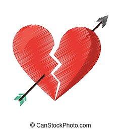 drawing red heart broken sad separation