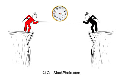 drawing Risk management business person with time.