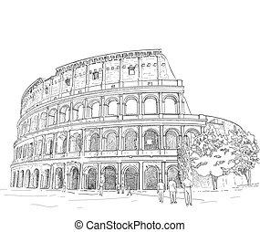 Drawing Roman Colosseum - vector - hand draw Roman colosseum...