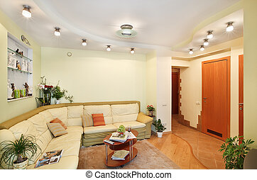 Drawing-room Interior with beige leather Sofa and Passage