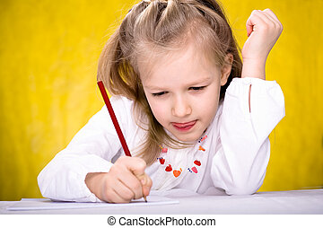 drawing schoolgirl