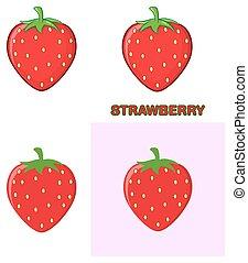drawing., set., zbiór, truskawka, owoc, rysunek