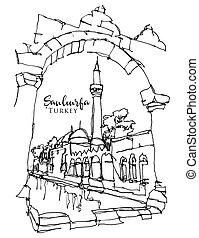 Drawing sketch illustration of Balikligol in Sanliurfa, ...