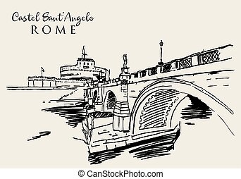 Drawing sketch illustration of Castel Sant'Angelo in Rome