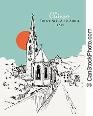 Drawing sketch illustration of Chiusa, Trentino-Alto Adige ...