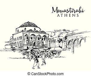 Drawing sketch illustration of Monastiraki Square in Athens...