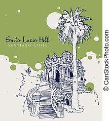 Drawing sketch illustration of Santa Lucia Hill park in ...