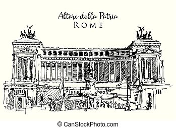 Drawing sketch illustration of the Altar of the Fatherland in Rome