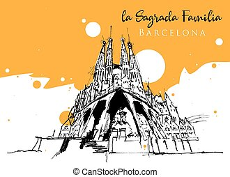 Drawing sketch illustration of the Sagrada Familia, Spain