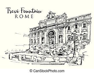Drawing sketch illustration of the Trevi Fountain in Rome