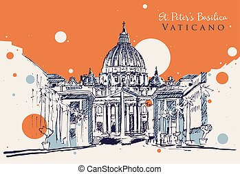 Drawing sketch illustration of Vatican