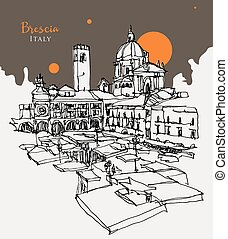Vector hand drawn sketch illustration of Brescia, the second largest city of Lombardy, Italy. View from Piazza del Mercato, the Saturday Market