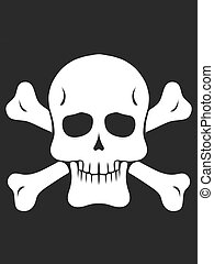 drawing skull and bones in black and white
