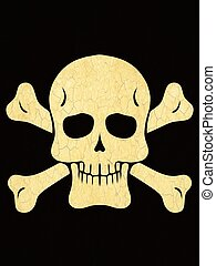 drawing skull with bones with black background