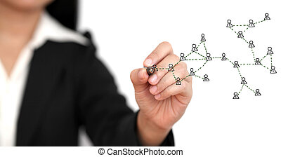drawing social network diagram - Asian business woman...