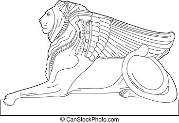 Drawing sphinx - Illustration element of architecture, EPS 8...