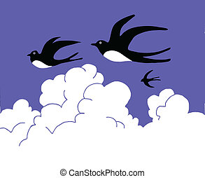 drawing swallow flying to cloudy sky