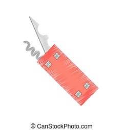 drawing swiss knife multi tool camping vector illustration...