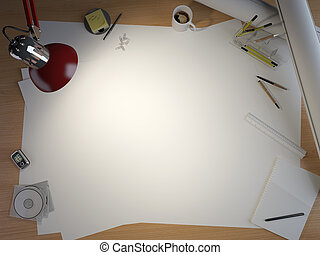 drawing table with elements and copy space - drawing table...