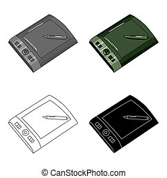 Drawing tablet with stylus icon in cartoon style isolated on...