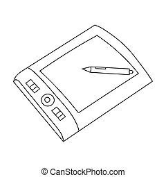 Drawing tablet with stylus icon in outline style isolated on white background. Artist and drawing symbol stock bitmap, rastr illustration.