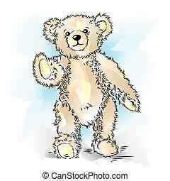 Drawing Teddy Bear. Color vector illustration