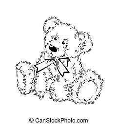 Drawing Teddy Bear with bow. Vector illustration
