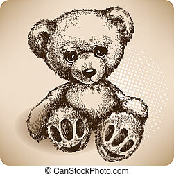 drawing., teddy, vector, beer, hand