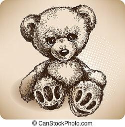 drawing., teddy, vektor, bär, hand