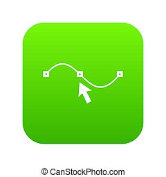 Drawing the curve icon digital green