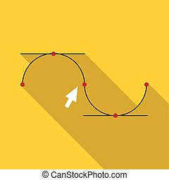 Drawing the curve icon, flat style