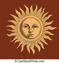 drawing the sun stylized engraving
