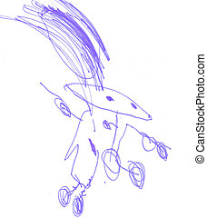 Drawing. - These children's scrawl. Made by child.