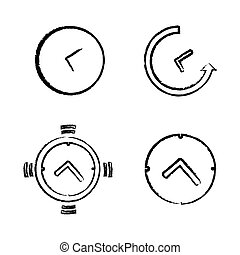Drawing Time Clock Icons Set