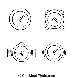 Drawing Time Clock Icons Set, Vector Design