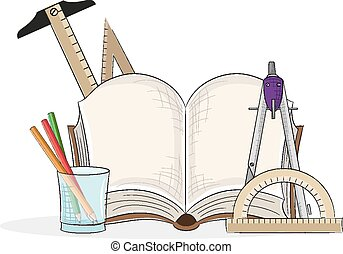 Drawing tools - Open book and drawing tools on a white...