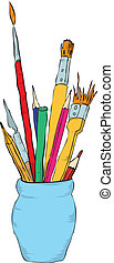Drawing tools - Pencils, pens and brushes to paint the...