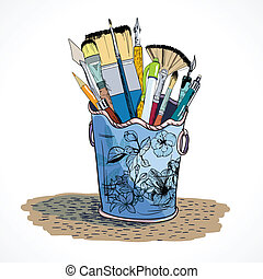 Drawing tools holder sketch - Decorative drawing tools...