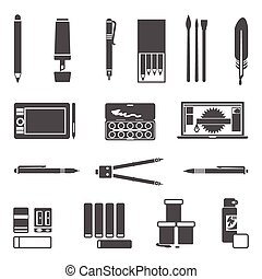 Drawing Tools Icon Set - Drawing and painter tools flat...