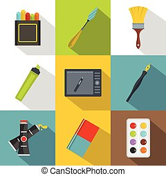 Drawing tools icon set, flat style - Drawing tools icon set....