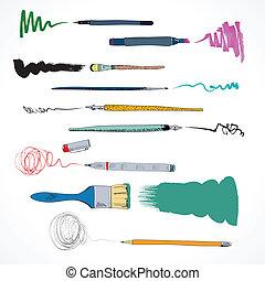 Drawing tools icon sketch - Decorative fiber marker pen ink...